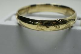 14K Yellow Gold 16 Grams 10mm Engraved Bangle Bracelet w/Blank Cartouche... - $1,197.94