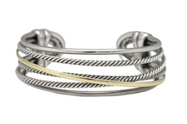 David Yurman 925 Sterling Silver 14K Yellow Gold Cable Cuff Crossover Br... - $649.99