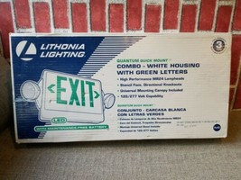 Lithonia LED Emergency Exit Sign Light with Green Letters white backing ... - $67.68