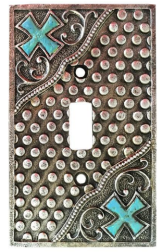 Silver Turquoise Cross Single Switch Plate Montana West NEW!