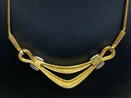 Givenchy 1977 Stamp Gold / Silver Tone Metal Vintage Old Fashion Necklace Choker - $89.99