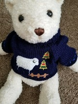 """Hug & Luv ~ 20"""" Tall ~ Plush ~ Off White Colored Bear ~ Blue Knit Sweater - $22.80"""