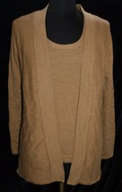 Coldwater Creek Sz M 10 - 12 Knit Top 2 pc Brown Shell Cardigan Wool Ble... - $31.68