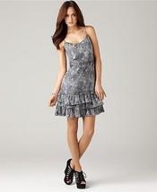DKNY Glittery Ruffled Spaghetti Strap Dress Silver Sparkles Day to Date NWT Lg - $19.95