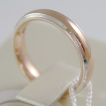 18K ROSE & WHITE GOLD WEDDING BAND UNOAERRE COMFORT RING 4 MM, MADE IN ITALY image 2