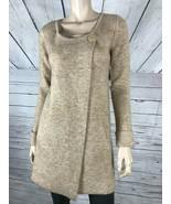 ELLEN TRACY Warm Beige Melange Button Wrap Long Cozy Tunic Sweater Jacke... - $36.48