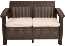 Corfu Brown Patio Loveseat, Tan Cushions, Durable Couch Outdoor Pool Din... - $124.73