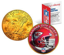 KANSAS CITY CHIEFS NFL 24K Gold Plated IKE Dollar US Coin * NFL LICENSED * - $9.46