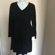 Liz Lange Maternity Black V-Neck Sweater Knit Dress Large NEW - $24.18
