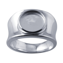 Sterling Silver Ring Band 10mm Round Cabochon Bezel Setting .925 Mountin... - $25.19