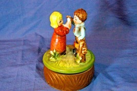 Vintage Japan  Revolving Boy And Girl Porcelain Music Box Somewhere My Love - $20.78