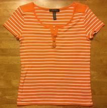 Ralph Lauren Women's Orange & White Striped Short Sleeve V-Neck Shirt - ... - $14.01