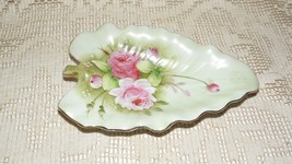 LEFTON CHINA LEAF DESIGN DISH ROSES HANDPAINTED DESIGN GOLD ACCENTS #1860 - $14.84