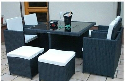 Rattan Cube Dining Set Garden Furniture Patio Table Armchairs  Mix Brown 9pcs  image 4
