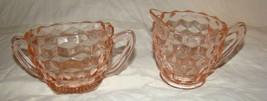 Vtg 1950s Fostoria American Pink Crystal Pattern #2056 Creamer & Sugar Bowl - $20.00