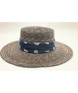 New Wyeth Straw Boater Hat with bandana band Brown OSFM Adjustable S to M - £36.69 GBP