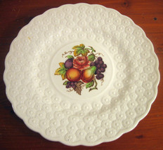 Copeland Spode Luncheon Plate Ring 9¼ Fruit Bouquet Embossed Daisies Eng... - $28.26