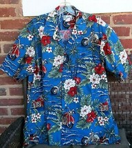 Men's XL Motorcycle Blue Hawaiian Shirt Made in Hawaii Brand Hibiscus - $19.79