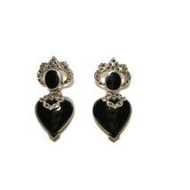 Vintage Sterling Silver Onyx & Marcasite Drop Dangle Earrings - $44.54