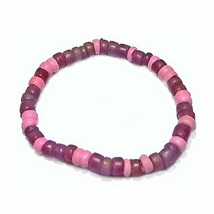 "Wood/Pink Coral 7"" Stretch Bracelet - $14.99"