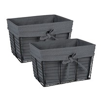 DII Vintage Grey Wire Baskets for Storage Removable Fabric Liner, Set of 2, Gray