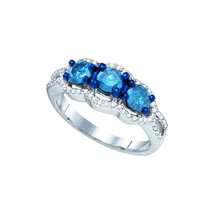 10k White Gold Round Diamond 3-stone Bridal Wedding Engagement Ring 1-1/... - $1,169.00