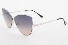 Tom Ford ELISE 02 Shiny Palladium / Blue Gradient Sunglasses TF569 16B 65mm - $224.42
