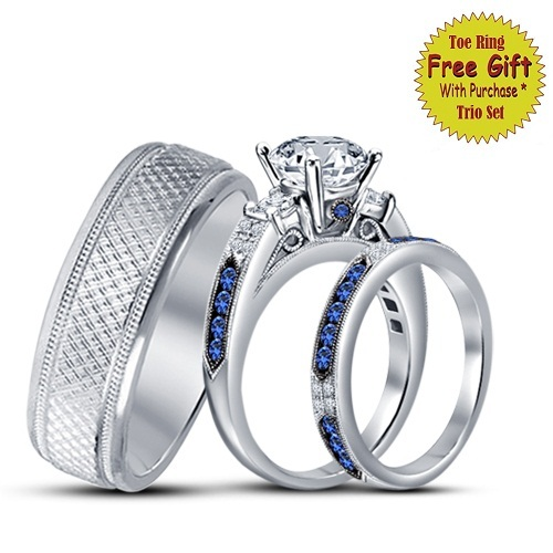 Primary image for His & Her Wedding Ring Diamond Trio Set 14k White Gold FN 925 Silver & Free Gift