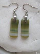 green italian opal glass earrings,murano glass,handmade,surgical steel - $16.00