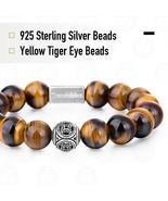 10MM A Tiger Eye Beaded Bracelet Women Men Natural Gem Stone 925 Sterlin... - $48.59