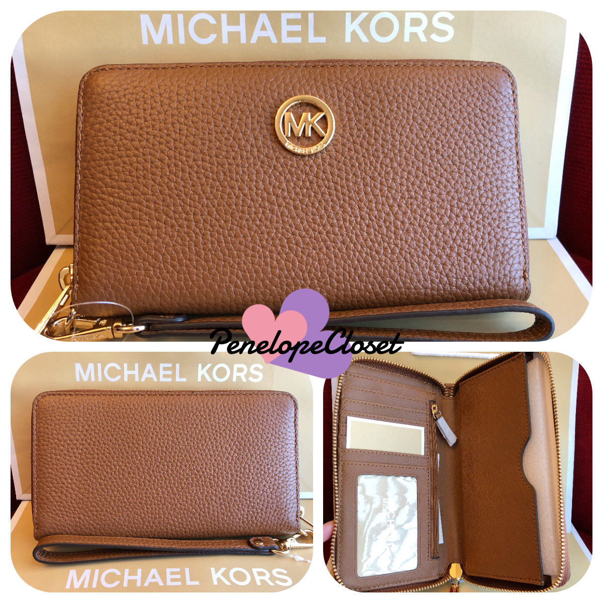 f8553964efa0 S l1600. S l1600. Previous. NWT MICHAEL KORS LEATHER FULTON LG FLAT MF PHONE  CASE WALLET IN LUGGAGE