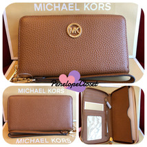 NWT MICHAEL KORS LEATHER FULTON LG FLAT MF PHONE CASE WALLET IN LUGGAGE - $57.88