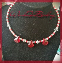 Red Glass Drop Beaded Memory Wire Choker 13 Inches - $8.91