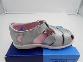 Single left shoe toddler size 8 W Stride Rite SRTech Tulip Sandal Silver... - $10.26