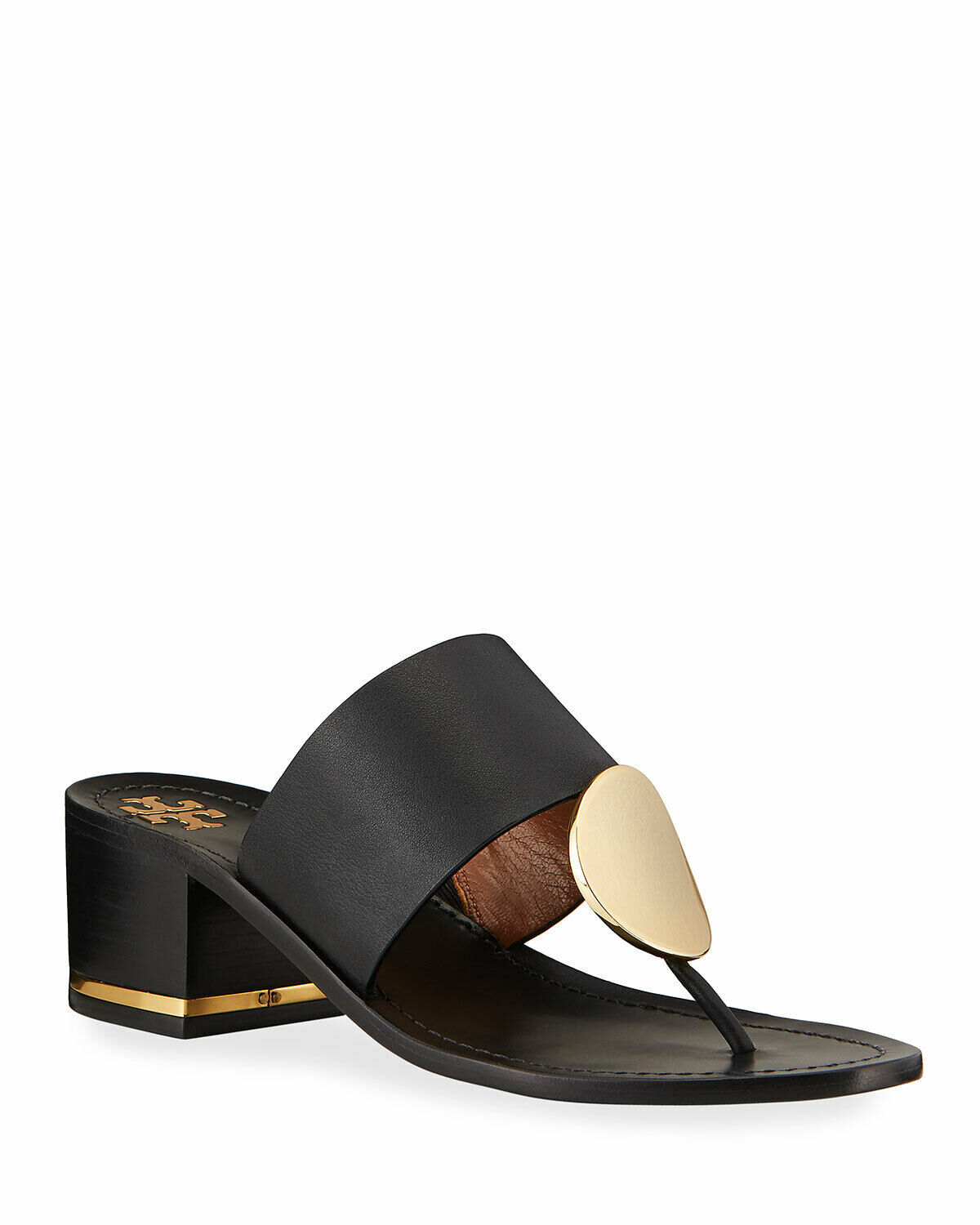 Tory Burch Patos Disk-Embellished Leather Thong Mules Size 5.5 MSRP:$278.00 - $227.69