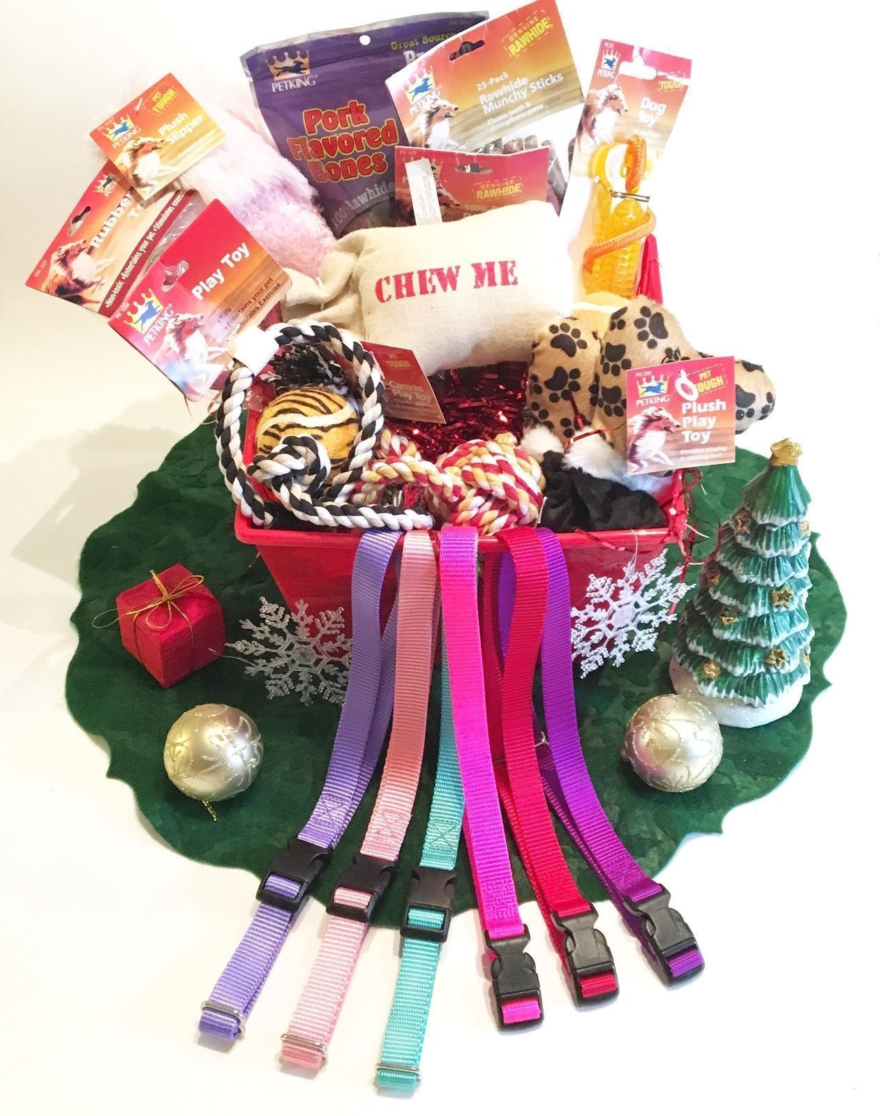 Christmas Girl Basket Value Dog Straps, Treats & Toy Assortment with Bucket