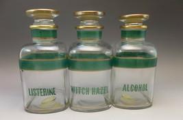 Clear Apothocary Jars Listerine Witch Hazel Alcohol Green Lot 3 - $31.68