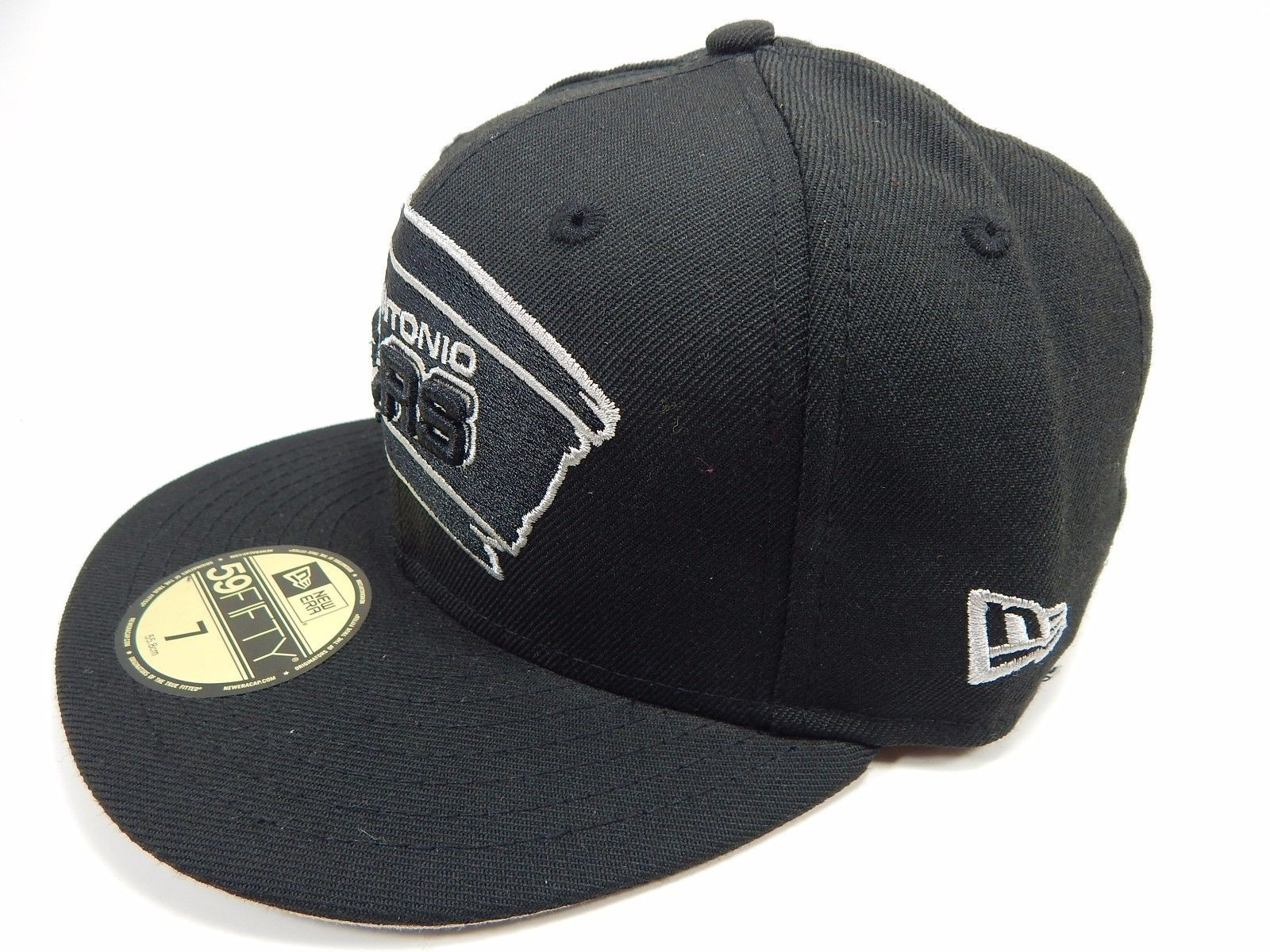 San Antonio Spurs New Era Size 7 Fitted 59Fifty Official NBA Cap Hat Black White