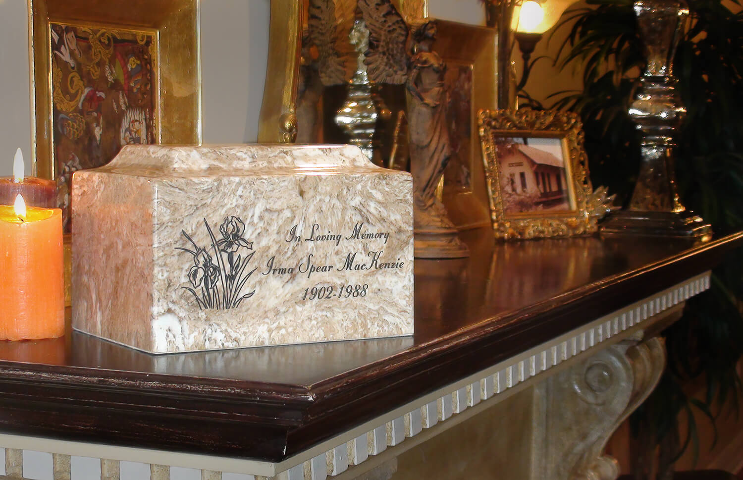 Classic Cultured Marble White & Black 50 Cubic Inches Cremation Urn TSA Approved