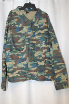 NEW WOMENS PLUS SIZE 3X GREEN ARMY CAMO BUTTON UP SHIRT JACKET SHACKET - $24.18