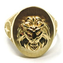 SOLID 18K YELLOW GOLD BAND MAN RING, LION HEAD IN RELIEF, OVAL, VERY DETAILED image 2