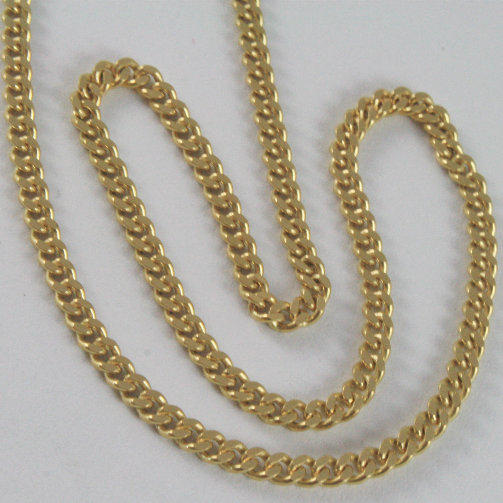 SOLID 18K YELLOW GOLD CHAIN MASSIVE GRUMETTE MESH, FLAT NECKLACE, MADE IN ITALY