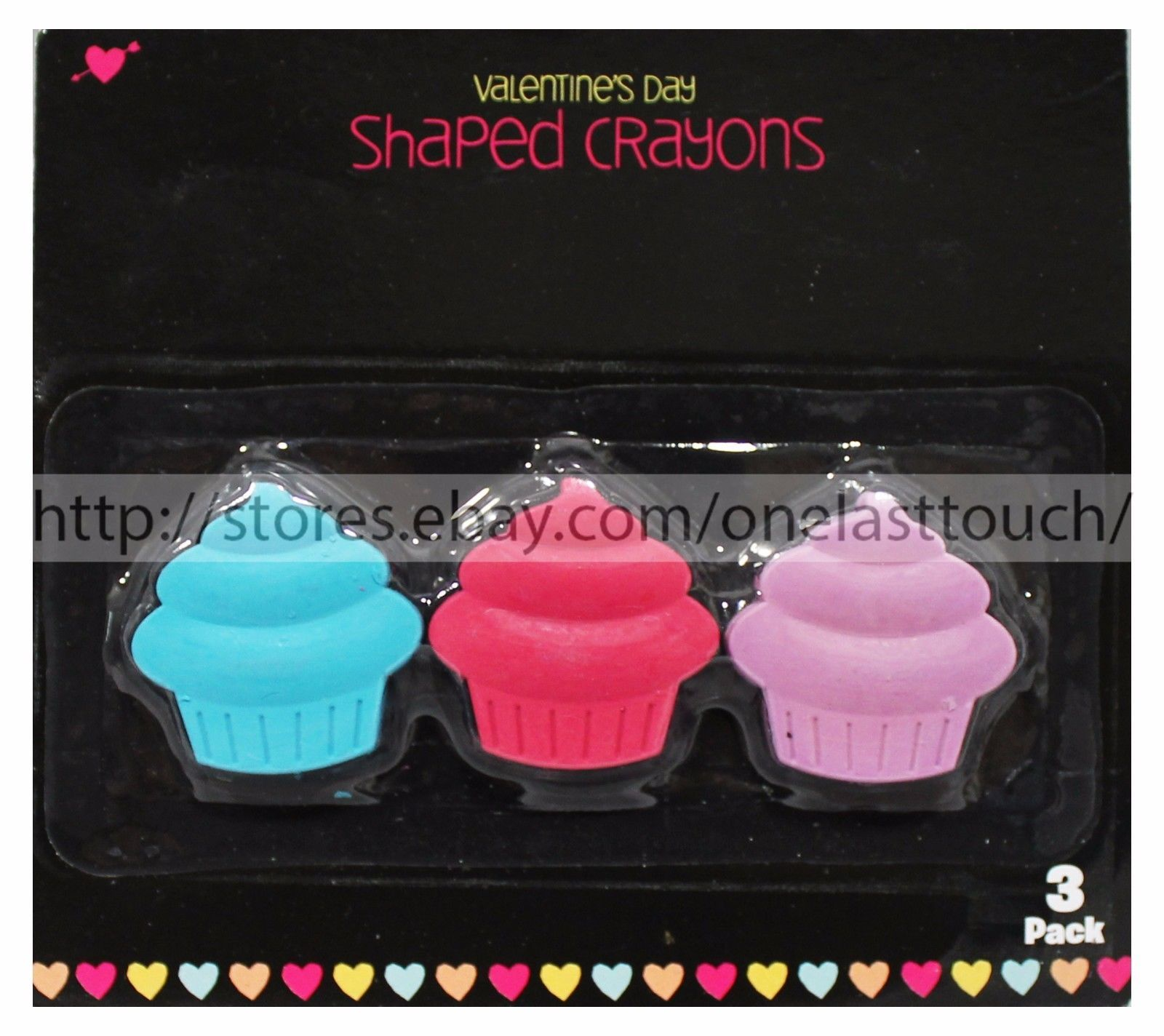 VALENTINES DAY* 3pc Set SHAPED CRAYONS Cupcakes+Hearts BAG FILLERS *YOU CHOOSE*