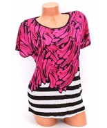 Kensie Short-Sleeve Contrast-Print Tee Electric Pink Combo S NWT - $20.48