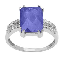 2.5 Ctw Tanzanite With White Topaz Sterling Silver Ring Jewelry Size-9 S... - €72,35 EUR