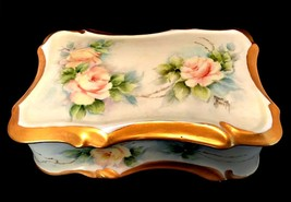 Vanity Trinket Box Hand Painted Porcelain by Ann Smith Floral w/ Gold Trim - $68.30