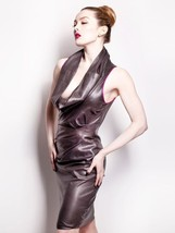 Golden'sLeather Cowl Neck Sexy Mini Party Cocktail Women Real Leather Dress