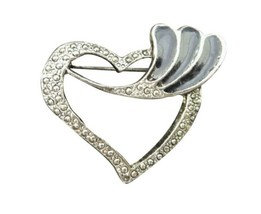 Vintage Brooch Pin Costume Jewelry Silver Colored Marcasite Heart - $16.82