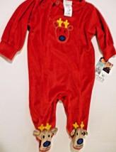 Carters Baby Unisex Red Velour Reindeer Footed Flame Resistant Sleepwear... - $18.80
