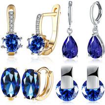 Women 925 Silver Sapphire Dangle Drop Ear Hook Fashion Wedding Gift Earr... - $9.99